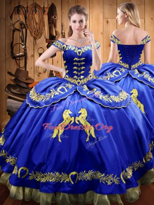 Customized Beading and Embroidery Quinceanera Dresses Royal Blue Lace Up Sleeveless Floor Length