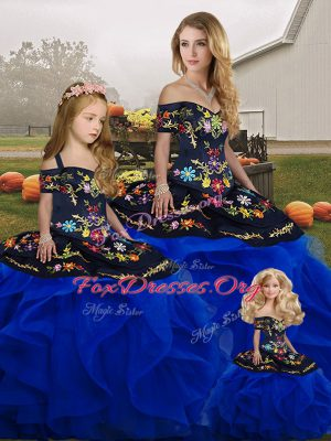 Hot Selling Royal Blue Sleeveless Tulle Lace Up Quinceanera Dresses for Military Ball and Sweet 16 and Quinceanera