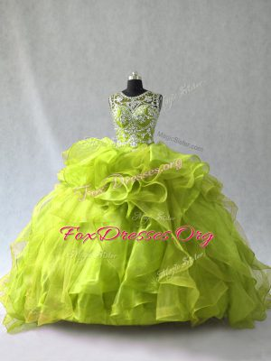 Sleeveless Floor Length Beading and Ruffles Lace Up Ball Gown Prom Dress with Yellow Green