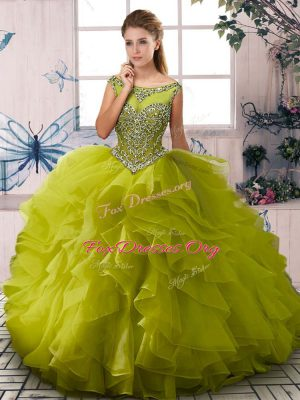 Pretty Floor Length Olive Green Ball Gown Prom Dress Organza Sleeveless Beading and Ruffles