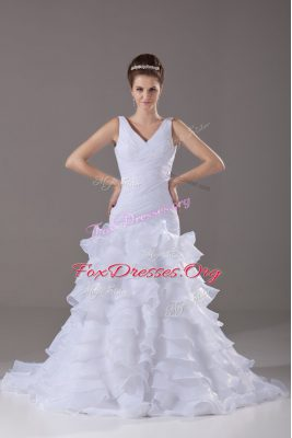 Stunning White Sleeveless Organza Brush Train Lace Up Bridal Gown for Wedding Party