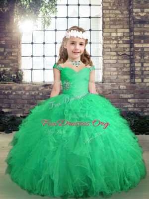 Amazing Floor Length Lace Up Pageant Dress Wholesale Turquoise for Party and Wedding Party with Beading and Ruffles