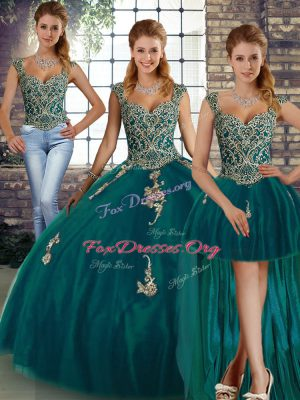 Wonderful Tulle Straps Sleeveless Lace Up Beading and Appliques Quinceanera Dresses in Peacock Green
