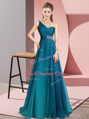 Teal Empire Chiffon One Shoulder Sleeveless Beading Criss Cross Homecoming Dress Brush Train