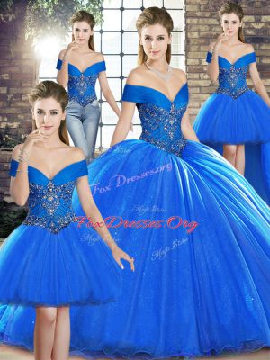 Classical Lace Up Sweet 16 Dresses Royal Blue for Military Ball and Sweet 16 and Quinceanera with Beading Brush Train