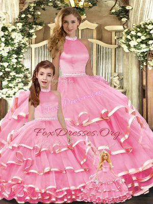 Colorful Floor Length Pink 15 Quinceanera Dress High-neck Sleeveless Lace Up