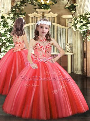Best Floor Length Coral Red Little Girls Pageant Gowns Tulle Sleeveless Appliques