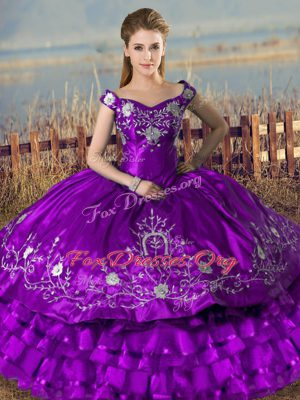 Unique Off The Shoulder Sleeveless Lace Up Vestidos de Quinceanera Purple Satin and Organza