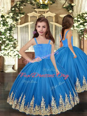 Baby Blue Straps Lace Up Embroidery Kids Formal Wear Sleeveless