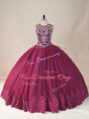 Scoop Long Sleeves Tulle Quince Ball Gowns Beading and Appliques Lace Up