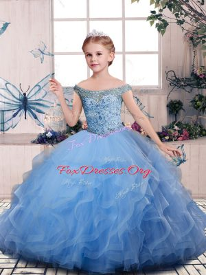 Superior Blue Off The Shoulder Lace Up Beading and Ruffles Kids Pageant Dress Sleeveless