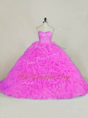 Perfect Organza Sleeveless Quinceanera Dresses Chapel Train and Beading and Ruffles
