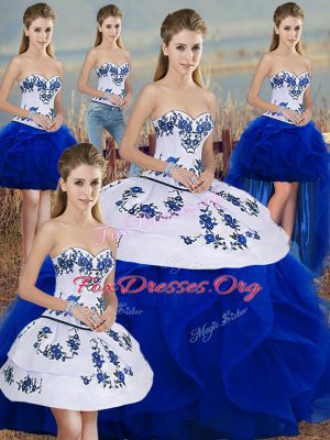 Popular Floor Length Royal Blue 15 Quinceanera Dress Tulle Sleeveless Embroidery and Ruffles and Bowknot