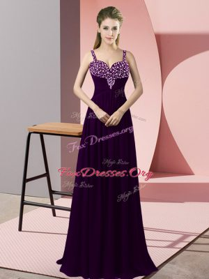 Top Selling Dark Purple Empire Chiffon Straps Sleeveless Beading Floor Length Zipper Pageant Dress for Girls