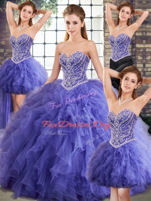 Ideal Sweetheart Sleeveless Tulle Sweet 16 Quinceanera Dress Beading and Ruffles Lace Up