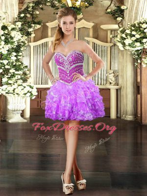 Customized Sweetheart Sleeveless Organza Prom Gown Beading and Ruffled Layers Lace Up
