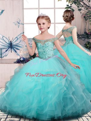 Custom Designed Floor Length Lace Up Girls Pageant Dresses Aqua Blue for Party and Sweet 16 and Wedding Party with Beading and Ruffles