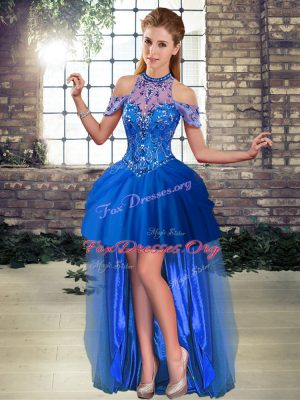Cheap Royal Blue Sleeveless High Low Beading Lace Up Evening Dress