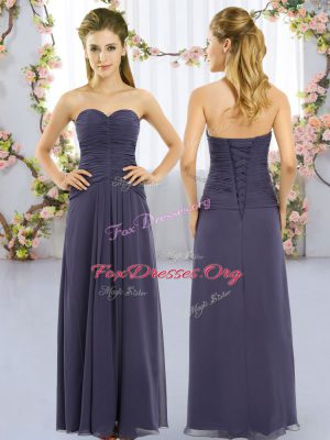 Glittering Sweetheart Sleeveless Quinceanera Dama Dress Floor Length Ruching Navy Blue Chiffon
