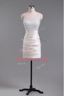 Champagne Column/Sheath Beading Side Zipper Satin Sleeveless Mini Length