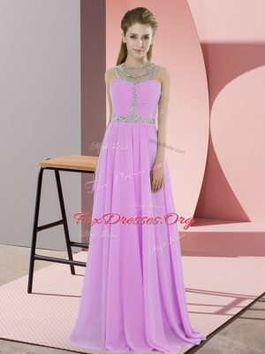 Custom Fit Lilac Sleeveless Floor Length Beading Zipper Prom Gown