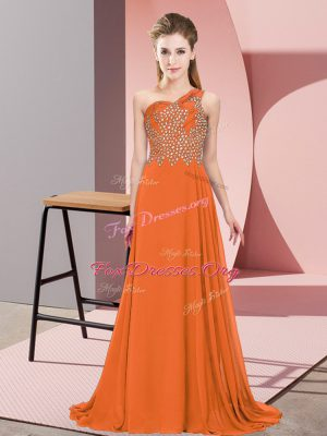 Excellent Floor Length Side Zipper Orange for Prom and Party with Beading