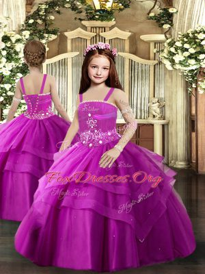 Enchanting Fuchsia Lace Up Straps Beading and Ruching Child Pageant Dress Tulle Sleeveless