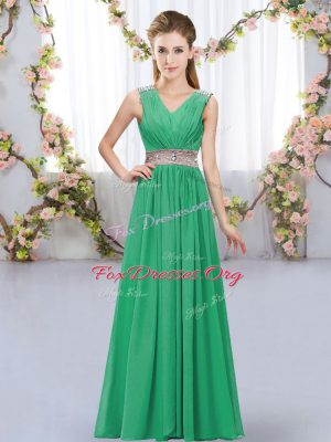 V-neck Sleeveless Lace Up Quinceanera Court Dresses Turquoise Chiffon