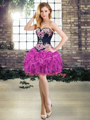 Hot Sale Purple Prom Dresses Prom and Party with Embroidery and Ruffles Sweetheart Sleeveless Lace Up