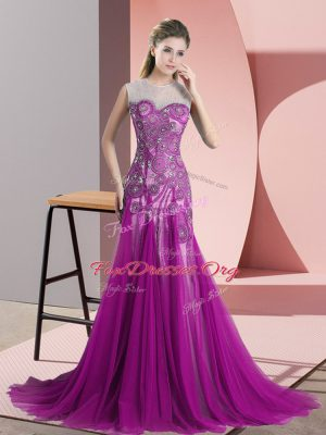 High End Sleeveless Beading and Appliques Backless Prom Dress with Purple Sweep Train