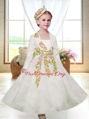 Chic White Sleeveless Embroidery Ankle Length Flower Girl Dresses