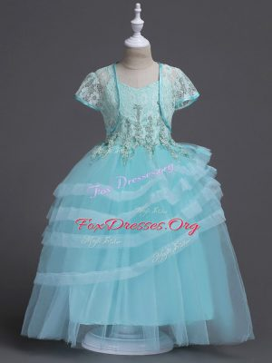 Aqua Blue Sleeveless Floor Length Appliques Zipper Flower Girl Dress