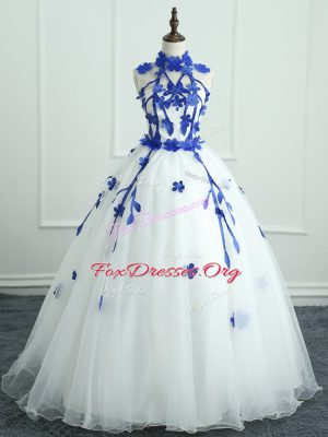 Super Floor Length White Quince Ball Gowns Organza Sleeveless Appliques