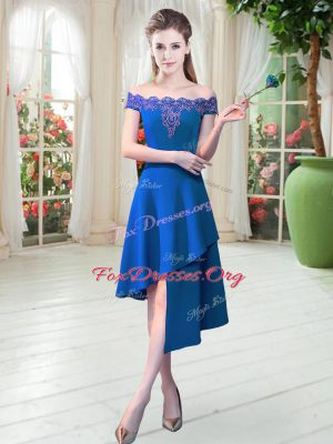 Sexy Royal Blue A-line Off The Shoulder Sleeveless Satin Asymmetrical Zipper Appliques Dress for Prom
