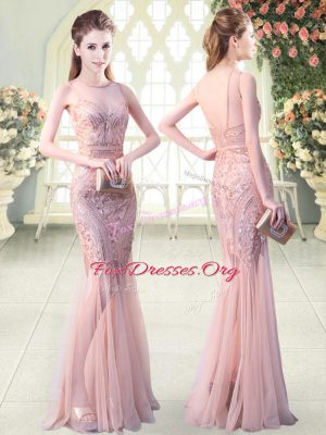 Smart Pink Juniors Evening Dress Prom and Party and Military Ball with Sequins Scoop Sleeveless Backless