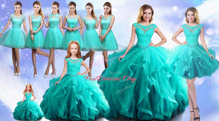 Aqua Blue Cap Sleeves Beading Lace Up Sweet 16 Dresses
