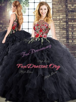 Designer Black Ball Gowns Bateau Sleeveless Embroidery and Ruffles Floor Length Zipper Vestidos de Quinceanera