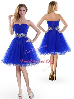 Extravagant Sleeveless Knee Length Beading Lace Up Prom Party Dress with Royal Blue