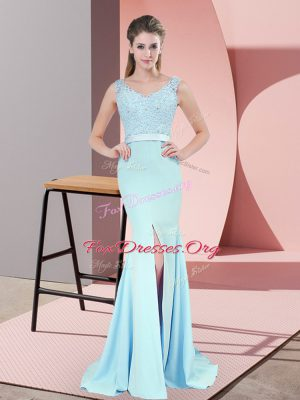 Dynamic Zipper Prom Party Dress Blue for Prom and Party and Military Ball with Beading and Lace Sweep Train