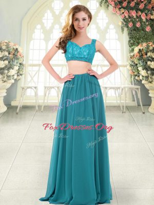 Sleeveless Zipper Floor Length Beading and Lace Prom Party Dress