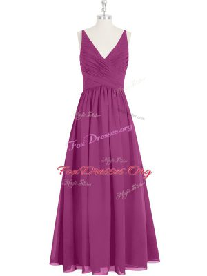 Fuchsia Sleeveless Chiffon Zipper Homecoming Dress for Prom and Party and Military Ball