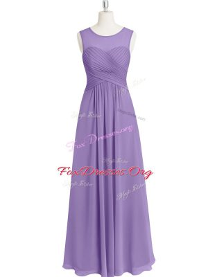 Sophisticated Lavender Scoop Zipper Ruching Prom Party Dress Sleeveless