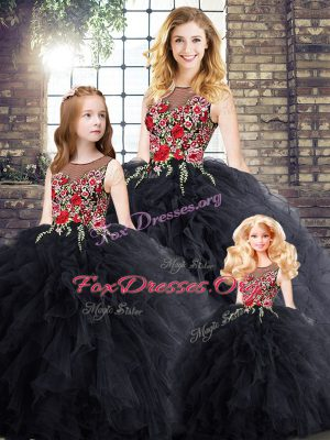 Great Black Sleeveless Embroidery and Ruffles Floor Length Sweet 16 Dresses