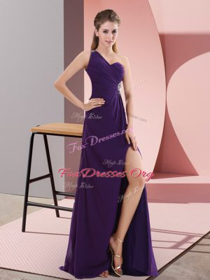 Cute Purple Sleeveless Sweep Train Beading and Ruching Prom Evening Gown