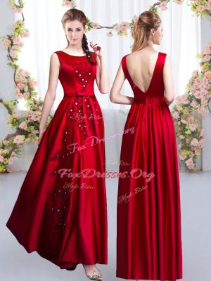 Pretty Floor Length Red Dama Dress for Quinceanera Satin Sleeveless Beading and Appliques