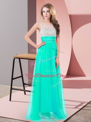 Turquoise Sleeveless Chiffon Side Zipper for Prom and Party