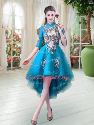 Half Sleeves High Low Appliques Zipper Prom Dresses with Teal
