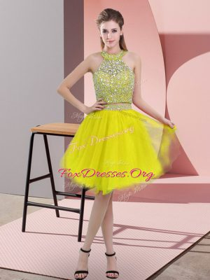 Knee Length Two Pieces Sleeveless Yellow Dress for Prom Backless