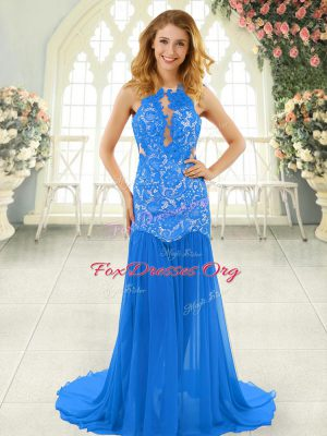 Sleeveless Chiffon Brush Train Backless Prom Evening Gown in Blue with Lace