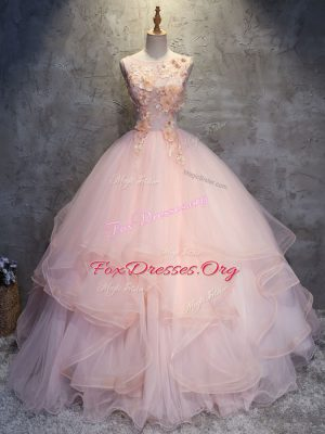 Sleeveless Lace Up Floor Length Appliques and Ruffles Ball Gown Prom Dress